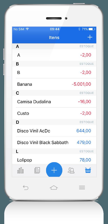 App Vendas ContaAzul: tela de produtos e serviços cadastrados