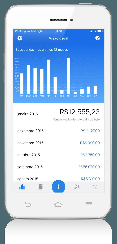App Vendas ContaAzul: tela de relatório de vendas