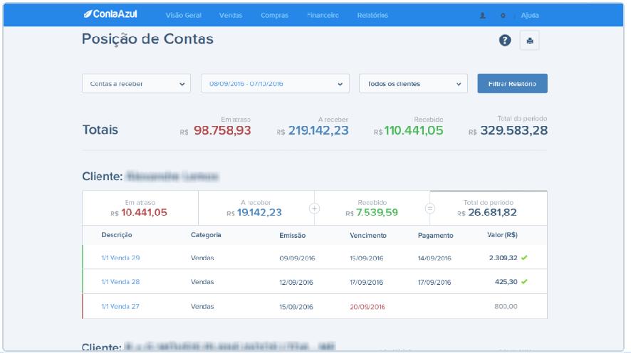 Tela do relatório de posição de contas do contaazul