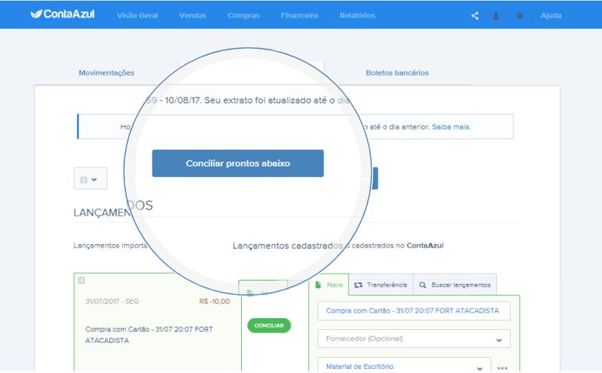 Tela Conciliação Automática Conta Azul
