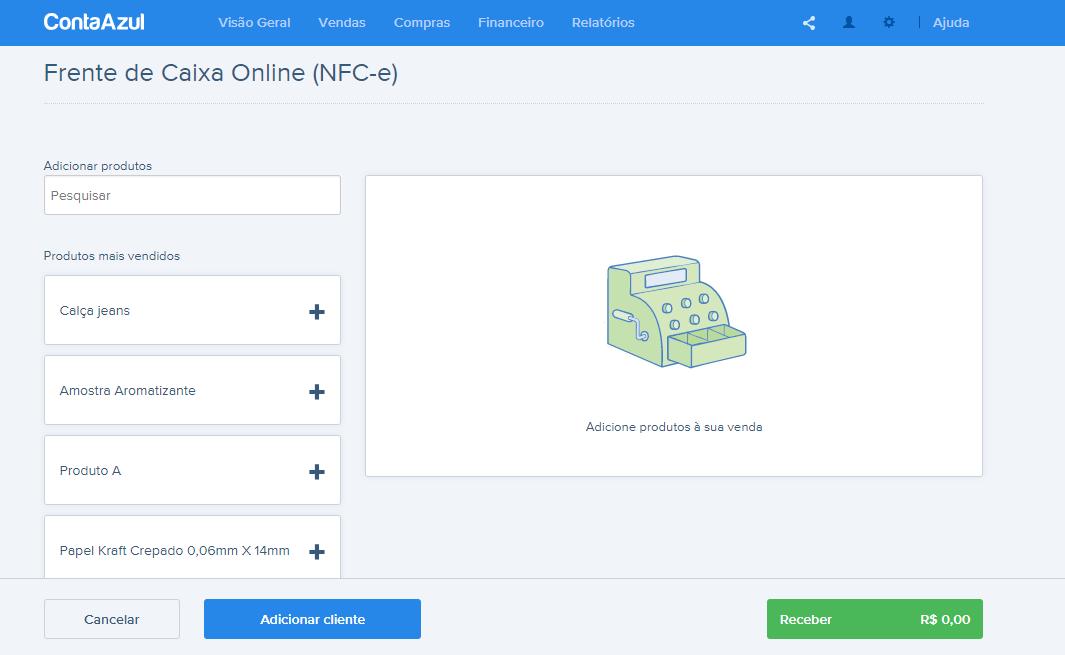 Frente de Caixa Online Conta Azul